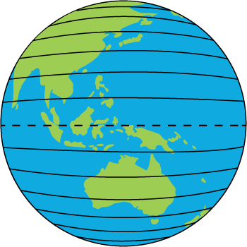 Lines of Latitude on a World Globe